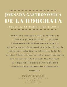 Invitacion Jornada Gastronomica de la Horchata de Nou Raco