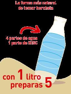4 partes de agua 1 de HISC